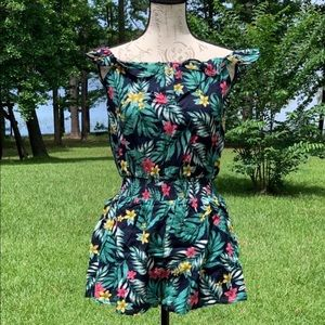 Lucca Couture Tropical Floral Ruffle Short Romper